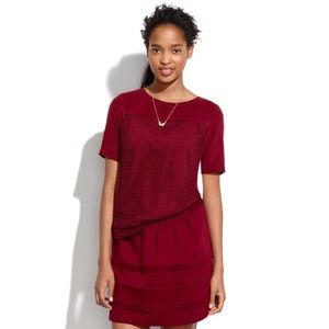 Madewell mesh knot SILK top maroon burgundy red